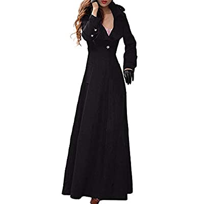 DongDong Women's Winter Long Lapel Slim Button Coat Trench Jacket Parka Overcoat Solid Elegant Outwear (Large, Black) by DongDong