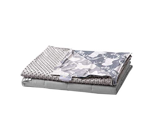 snoozzzy 5lb Weighted Blanket For kids Great For Sleep, OCD, ADHD And Anxiety - Grey Stag Cover Size: 36X48