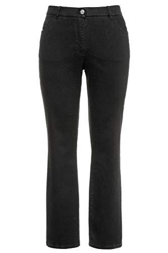 Ulla Popken Damen Mandy, 5-Pocket, Komfortbund, gerades Bein Jeans, Schwarz (schwarz 10), 50