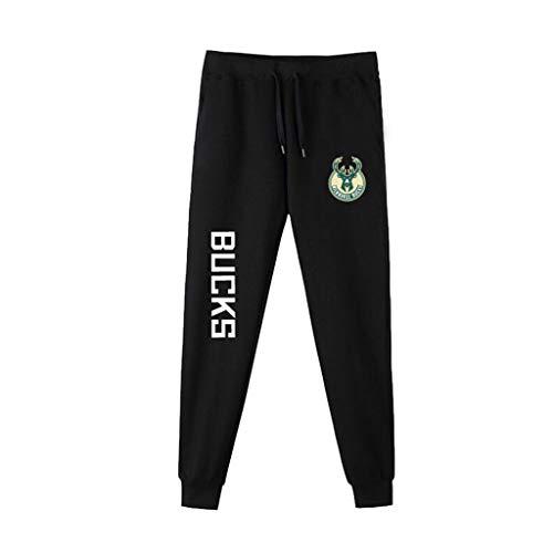 Uomini Pantaloni della Tuta NBA Basketball Formazione Pantaloni Casuale Comodo dei Lakers Kobe Bryant Lebron James Michael Jordan Running Pants Milwaukee Bucks-XL