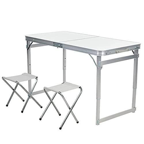 Mesa de picnic Mesa plegable y juego de playa Escritorio portátil de aleación de aluminio con 2 asientos Juego de mesas y sillas siamesas con asa para viajes en interiores y exteriores (Color: Blanc