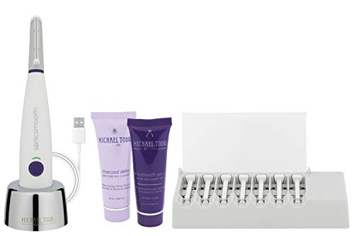 Michael Todd Beauty Sonicsmooth - Sonic Dermaplaning Tool - 2 in 1 Women's Facial Exfoliation & Peach Fuzz Hair Removal System with 7 Weeks of Treatment