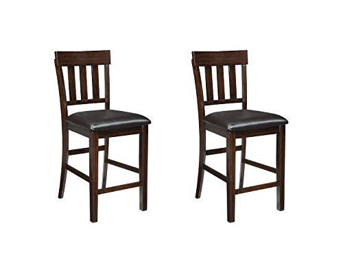 Signature Design by Ashley Haddigan 24' Counter Height Upholstered Barstool Set of 2, Dark Brown
