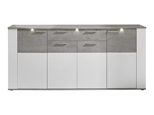 trendteam Sideboard, Holz, Weiß, Grau, 41 x 184 x 86 cm