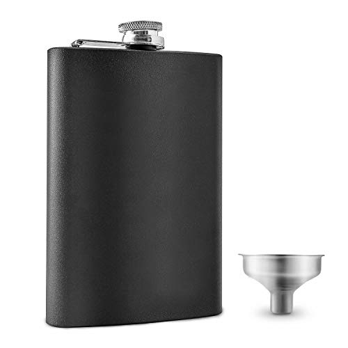 8oz. Stainless Steel Hip Flask with Metal Funnel | Whiskey Gifts for Men | Alcohol Gift for Drinking On the Go | Flask for Liquor for Women | Leak Proof and BPA Free | Groomsmen Gifts