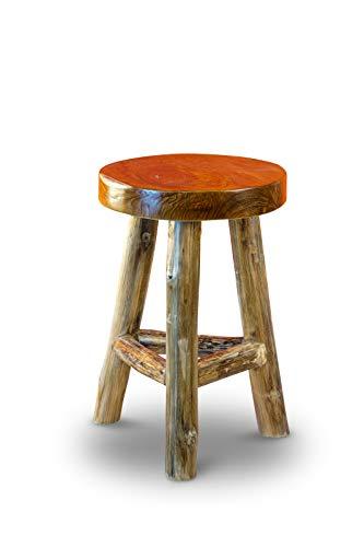 Kinaree Massivholz Teak Hocker THONGLOR - 45cm runder Dreibeinhocker aus Wurzelholz im rustikalen Landhausstil   geeignet als Beistelltisch, Blumenhocker, Schemel