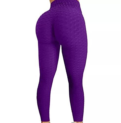 FITTOO Polainas sexy de cintura alta [push up] estiramiento, gimnasio, entrenamiento y pantalones de yoga Para mujer Medio (Morado)
