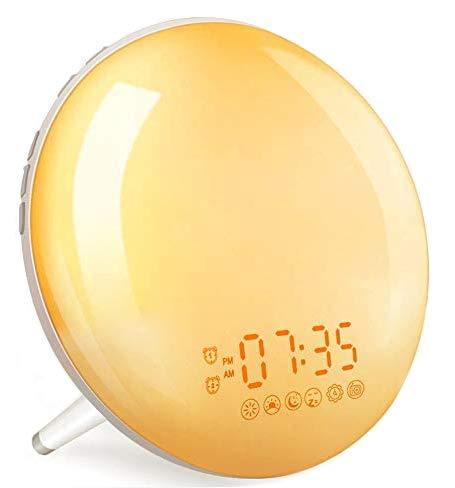 Smart Wake Up Light Despertador Luz - Inteligente Despertadores Wifi Control de Alexa Echo y Google Home,Simulación de Amanecer y Anochecer, 7 Luces de Colores/4 Alarmas/Radio FM