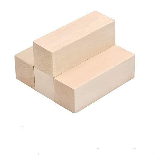 TOKERD 4 Groß Schnitzholz Natürliches Holzblöcke zum Schnitzen & Basteln Lindenholz Schnitzholz für Kinder und Erwachsene(15 x 5 x 5cm)
