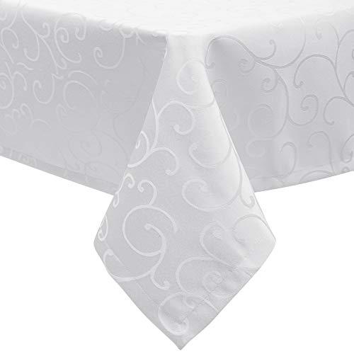 EUGAD Tischdecke Damast Ornamente Seidenglanz Kringel/Circle Design Tafeldecke mit Saum, Tischtuch Größe & Farbe wählbar, Edel Tisch Decke Abwaschbar und Bügelfrei, Eckig 130x220 cm Weiß