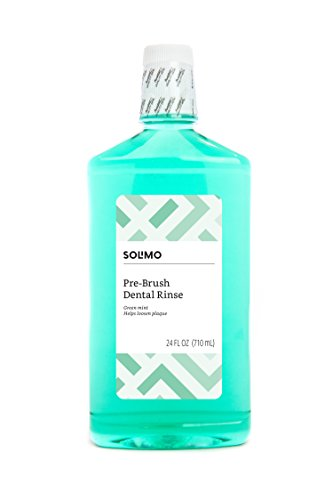 Amazon Brand - Solimo Pre-Brush Dental Rinse, Green Mint, 24 Fluid Ounces, Pack of 1