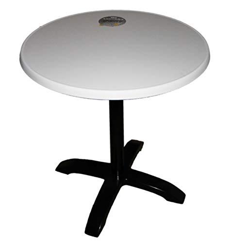 Bistrotisch Alugestell abklappbar schwarz Sevelit Tischplatte 70 cm rund Dekor weiß, wetterfest, außen, Tisch