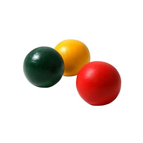 SPORT SIDE 40053 SPORTSIDE – 3 Cochonnets de Petanque – Vert, Rouge et Jaune – 040053 – 25 mm – Jeu d'Adresse et de Plein Air, Bois, 25 mm