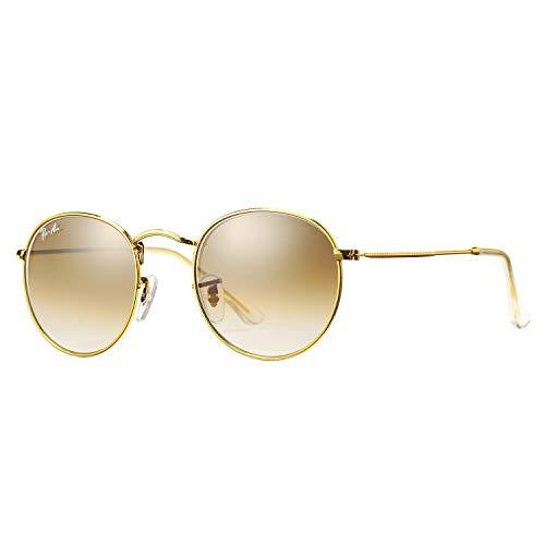 Pro Acme PA3447 - Gafas de sol redondas de cristal (50 mm, redondas), Marrón (Crystal Brown Gradient Lens), Medium