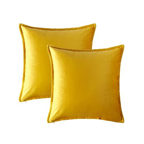 Hansleep Funda Cojín 45x45cm Amarillo, Juego de 2 Fundas Cojines de Terciopelo Turquesa Decorativa para Sofá Cama & Dormitorio Sala de Estar - Funda de Almohada Cuadrada Exterior con Cremallera