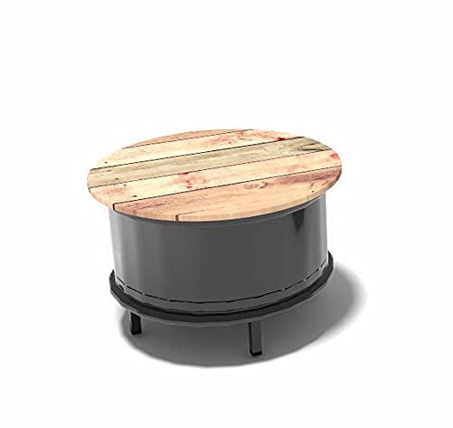 Bidon en métal table basse barrière industrielle personnalisable avec pieds en métal, laqué et plateau 60 x 60 x 50 cm