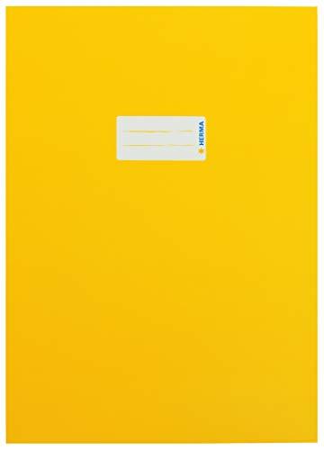 HERMA 19746 Karton Heftumschlag DIN A4 mit Beschriftungsetikett, aus stabilem und extra starkem Papier, Heftschoner für Schulhefte, gelb