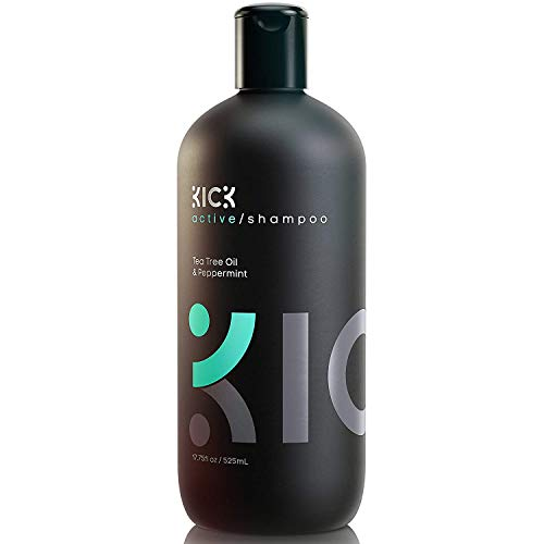 KICK Mens Shampoo - Tea Tree Oil and Peppermint Shampoo - Itchy Scalp Treatment Mens Shampoo for Thinning Hair - No Sulfates -Powerful Anti Dandruff Shampoo for Men & Women, 525 ml -17.75 ounces