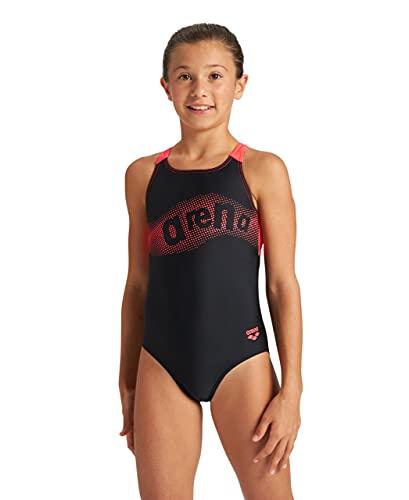 ARENA Bañador niña Wakes, Black-Fluo Red, 12 años