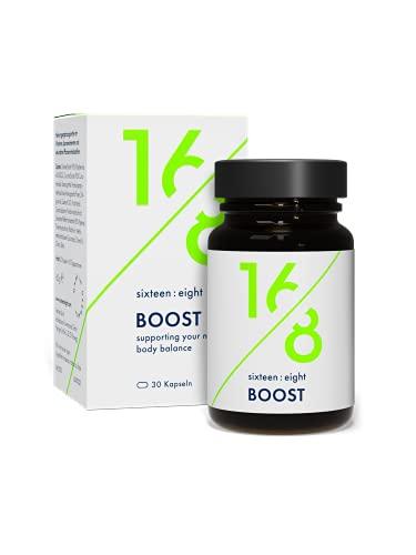 SIXTEEN:EIGHT® BOOST Fettstoffwechsel Kapseln speziell für Intervallfasten I Hochdosiert, Vegan, Premium Inhaltsstoffe I 30 Kapseln