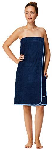Sowel® Saunakilt Damen, 100% Bio-Baumwolle, Saunahandtuch mit Klettverschluss und Gummizug, Saunatuch Knielang, 80 x 130 cm, Navy/Blau