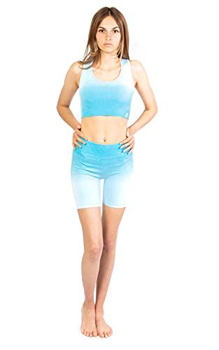 Gradient Seamless Set Short 2 TLG Highwaist Short y BH para mujer, set de deporte para mujer para correr, hacer fitness o yoga azul S