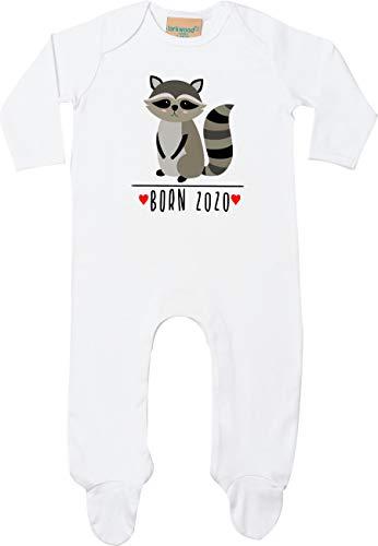 Kleckerliese Baby Schlafanzug Sleepsuit Longsleeved Jungen Mädchen Strampler Langarm Einteiler mit Aufdruck Motiv Born 2020 Tiermotiv Tiere Waschbär, White, 0-3 Monate