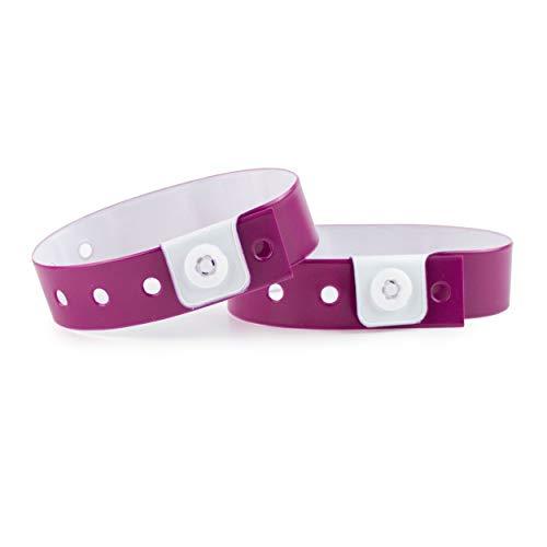 Set de 100 pulseras de plástico/vinilo para eventos, personalizables e impermeables ( púrpura)