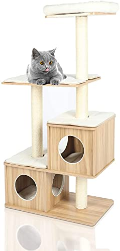 """LAZY BUDDY Modern Cat Tree, 56"""" XL Wooden Cat Tower Scratching Posts, Cat Play House Stand w/4 Level Furniture Condo Castle for Cat's Activity, W/Removable&Washable Mats&Perch, for Kittens&Large Cats"""