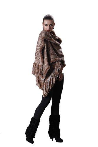 Cashmere Pashmina Group-Cashmere Shawl Scarf Wrap Stole (Solid/Reversible Print w/Genuine Fur) - Camel