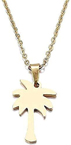 LKLFC Collar Mujer Collar Hombre Collar Collar para árbol de Coco Colgante Collar Regalo de Compromiso Collar Colgante de Acero Inoxidable Regalo para niñas y niños