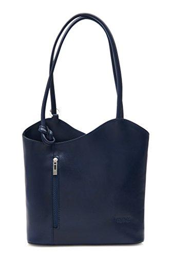 Gran bolso de mujer estilo shopping de piel italiana para llevar al hombro o como mochila, piel tela, azul marino, Medium