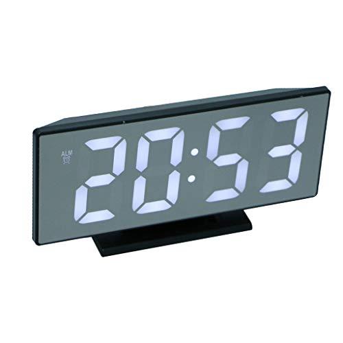 perfeclan Despertador Electrónico Digital Sobremesa Reloj de Esoejo LED con Cable de Proyección USB Adornos para Habitación Coche - A