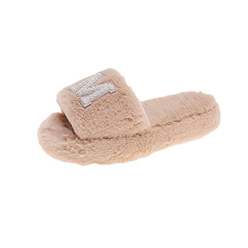URIBAKY - Zapatillas con letras de estrás para mujer, de algodón, con apertura en casa, de felpa, antideslizantes, para interior y exterior, caqui, 38 EU