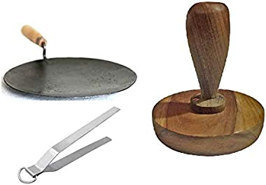 Satisfactory Nation Iron Tawa Cookware Roti Maker chapati Maker Iron Tava with Wooden Handle 9 Inch with Stainless Steel Tong