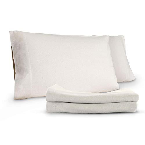 Whisper Organics Organic Cotton Flannel Pillow Case Set (King, White)