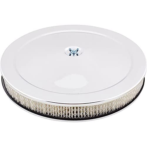 Universal Chrome Deep Dish Performance Air Cleaner, 14 x 2 Inch, 4 Barrel Carb.