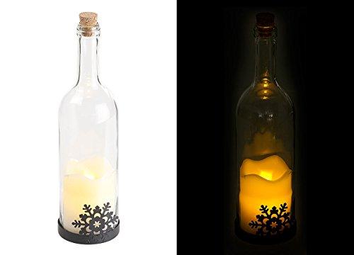 Bouteille de vin décorative avec bougie LED vacillante - Flocon [Lunartec]