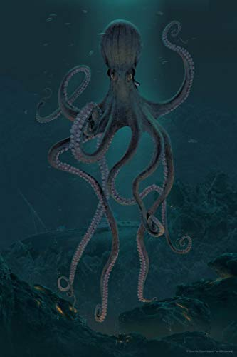 Giant Octopus Sea Depth by Vincent HIE Fantasy Kraken Cool Wall Decor Art Print Poster 24x36