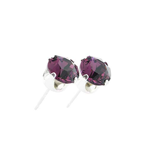 pewterhooter women's 925 Sterling silver stud earrings made with sparkling Amethyst crystal from Swarovski. Gift box. Made in the UK. Hypoallergenic & Nickle Free for Sensitive Ears.