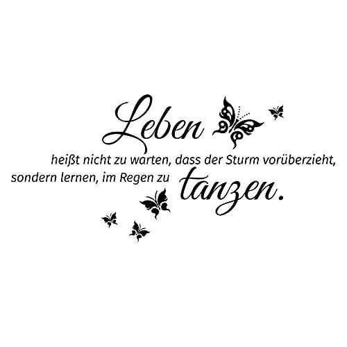 Grandora Wandtattoo Spruch Leben heißt + Schmetterlinge I schwarz (BxH) 80 x 37 cm I Wandsticker Wandaufkleber Aufkleber Wohnzimmer Flur Diele Schlafzimmer W996
