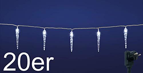 LED Lichterkette mit kalt-weißen beleuchteten Eiszapfen, für Innen und Außen geeignet, erweiterbar um 2 Lichterketten (20er Lichterkette)