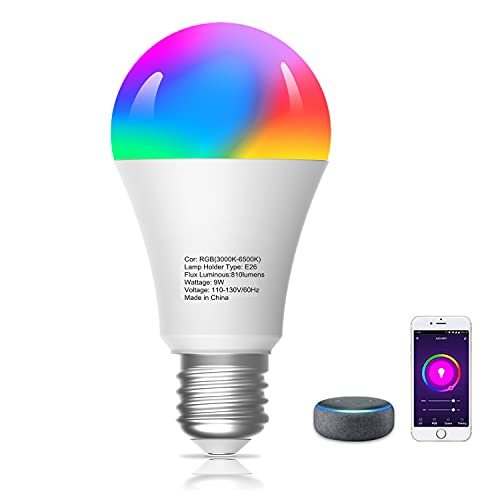 Smart Light Bulbs, Compatible with Alexa/Google Home/Echo, eLinkSmart WiFi LED Dimmable RGB Color Changing,Timing, A19 E26 7W Engery Saving, 2.4Ghz WiFi Only, No Hub Required