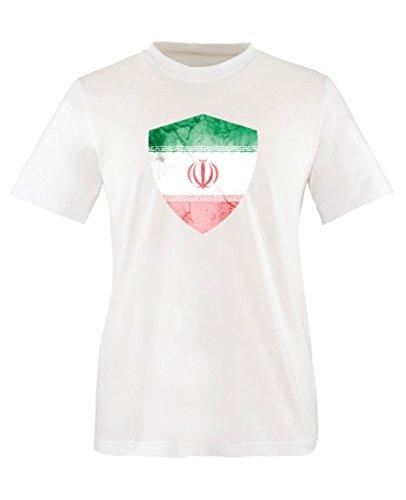 Comedy Shirts - Iran Trikot - Wappen: Groß - Wunsch - Kinder T-Shirt - Weiss/Rot Gr. 152-164