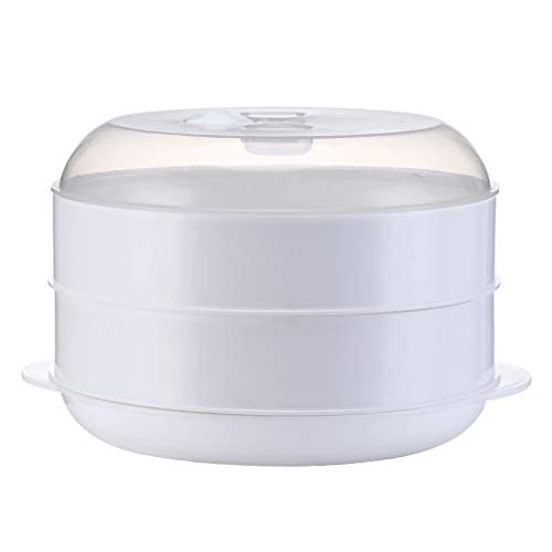 FUNCOCO Soporte de Vapor Redondo, Caja de vaporizador de Alimentos Redonda de una o Dos Capas con Tapa para Horno microondas, Cocina, Verduras, Pescado, Utensilios de Cocina, 2 Capas