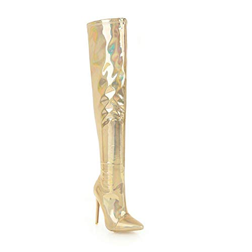 Damen Stiefel Overknees,Frauen über dem Knie Stiletto Stiefel,Einzigartige Stiefel,Mode Persönlichkeit Verführung Sexy Lackleder High Heel Damenschuhe Stretch Oberschenkel hohe Stiefel,Gold,37EU