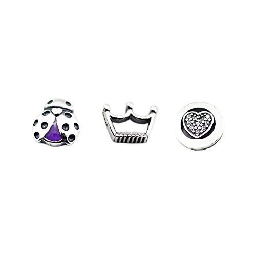 LILANG Pandora 925 Jewelry Bracelet Cuentas Naturales para Hacer Sterling-Silver- Crown Ladybug Heart Petites Bead Charms Silver Berloque Perles Mujeres DIY Gift
