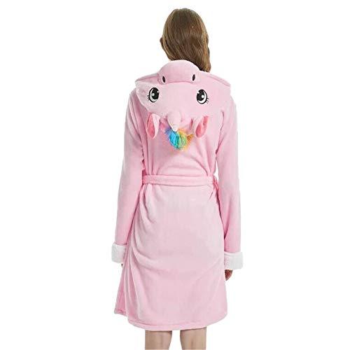 SEHJLHR Erwachsene Tier Flanell Bademantel Nachtwäsche Frauen Männer Paar Bademantel Dicke warme Robe Winter Panda Einhorn Plüsch Pyjama Pink Unicorn L