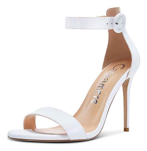 CASTAMERE Zapatos de Tacón Mujer Punta Abierta Sandalias Tira de Tobillo Tacón de Aguja 10CM Blanco Satín Zapatos EU 44