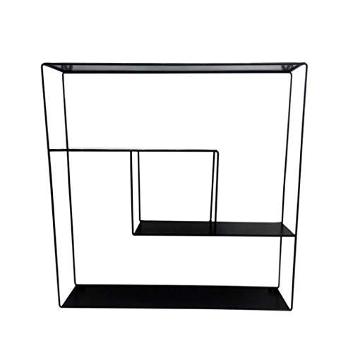 LaLe Living Estantería de pared cuadrada de hierro en negro con 3 estantes para montaje en pared, forma geométrica en diseño industrial, dimensiones de la estantería: 60 x 60 x 15 cm
